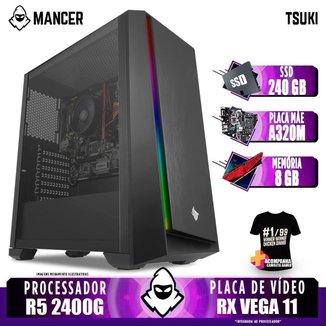 Computador Gamer Mancer, AMD Ryzen 5 2400G, A320M, 8GB DDR4, SSD 240GB, 400W + Camiseta