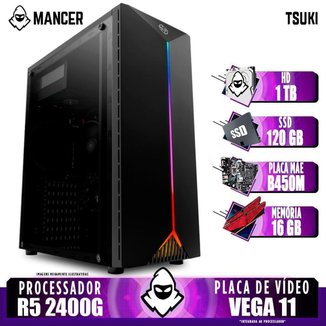 Computador Gamer Mancer, AMD Ryzen 5 2400G, B450M, 16GB DDR4, HD 1TB + SSD 120GB, 400W