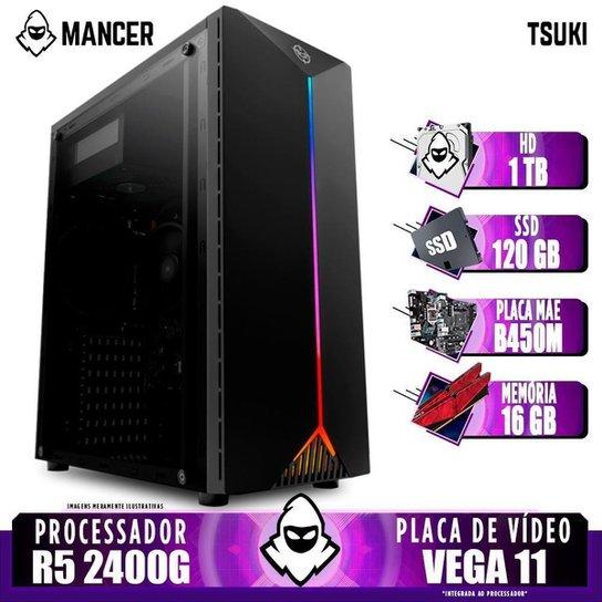 Computador Gamer Mancer, AMD Ryzen 5 2400G, B450M, 16GB DDR4, HD 1TB + SSD 120GB, 400W - Preto
