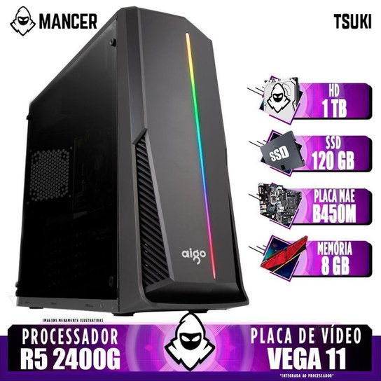 Computador Gamer Mancer, AMD Ryzen 5 2400G, B450M, 8GB DDR4, HD 1TB + SSD 120GB, 400W - Preto