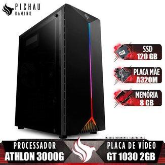 Computador Gamer Pichau, Amd Athlon 3000g, Geforce Gt 1030 2gb, 8gb Ddr4, Ssd 120gb, 400w