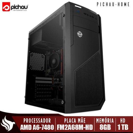 Computador Home Pichau, AMD A6-7480, 8GB DDR3, HD 1TB, 500W - Preto