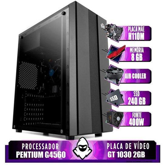 Computador intel G4560, H110M, GT 1030 2GB, 8GB, SSD 240GB, 400W - Preto