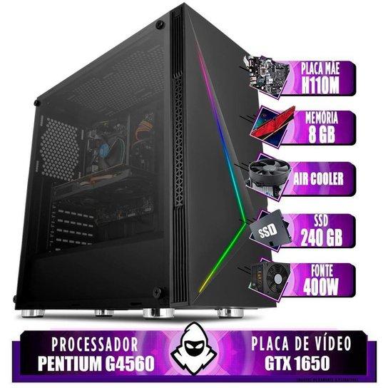 Computador intel G4560, H110M, GTX 1650 4GB, 8GB, SSD 240GB, 400W - Preto