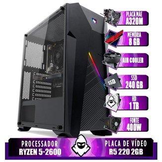 Computador Ryzen 5 2600, A320M, R5 220 2GB, 8GB, HD 1TB + SSD 240GB, 400W