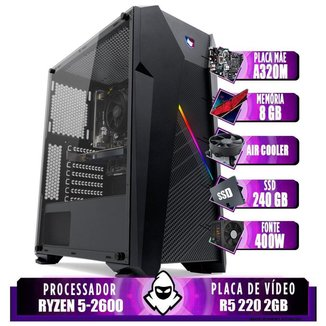 Computador Ryzen 5 2600, Cooler Corax, A320M, R5 220 2GB, 8GB, SSD 240GB, 400W