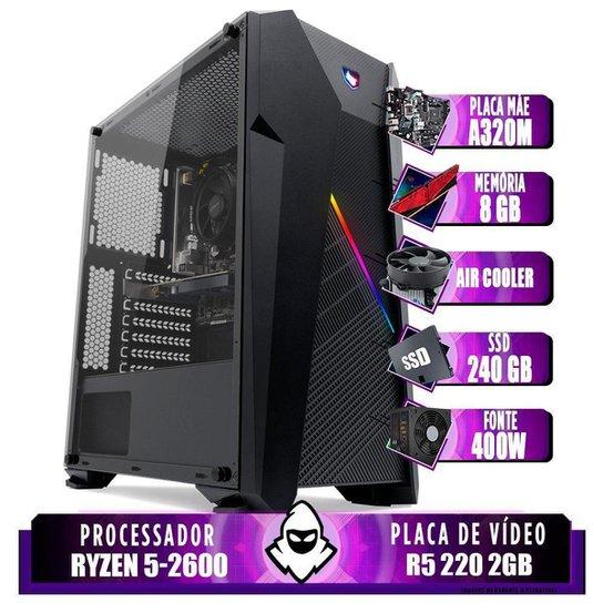 Computador Ryzen 5 2600, Cooler Corax, A320M, R5 220 2GB, 8GB, SSD 240GB, 400W - Preto