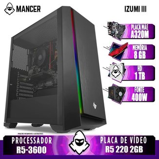 Computador Ryzen 5 3600, A320M, R5 220 2GB, 8GB, HD 1TB, 400W