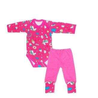 Conjunto 2 peças Body bebe menina-manga longa Rosa Unicórnio-Bener babys