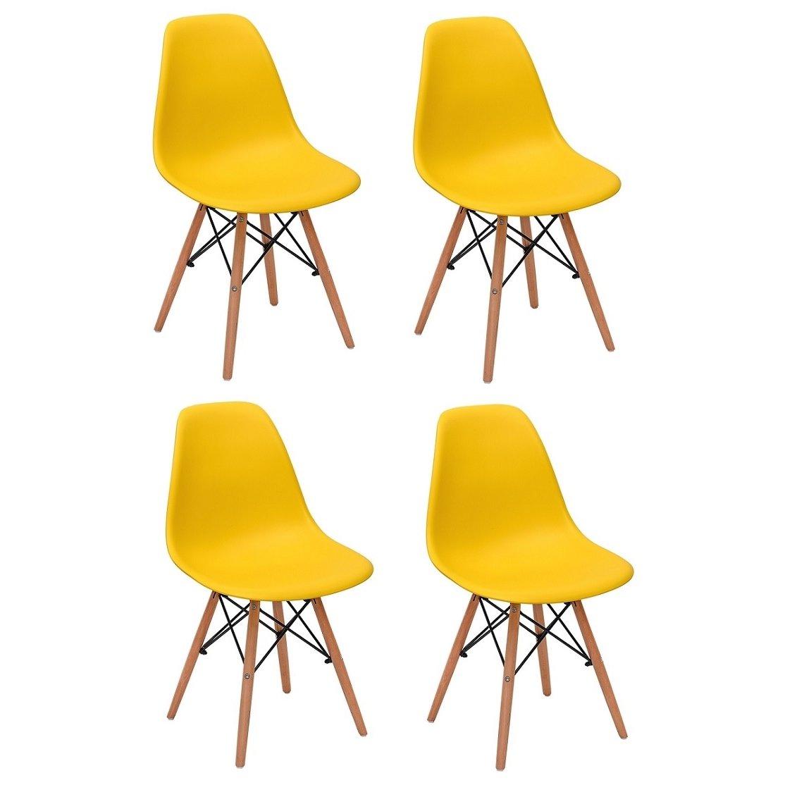 Conjunto 4 Cadeiras Charles Eames Eiffel Wood Base Madeira - Compre Agora  9330417f3d7