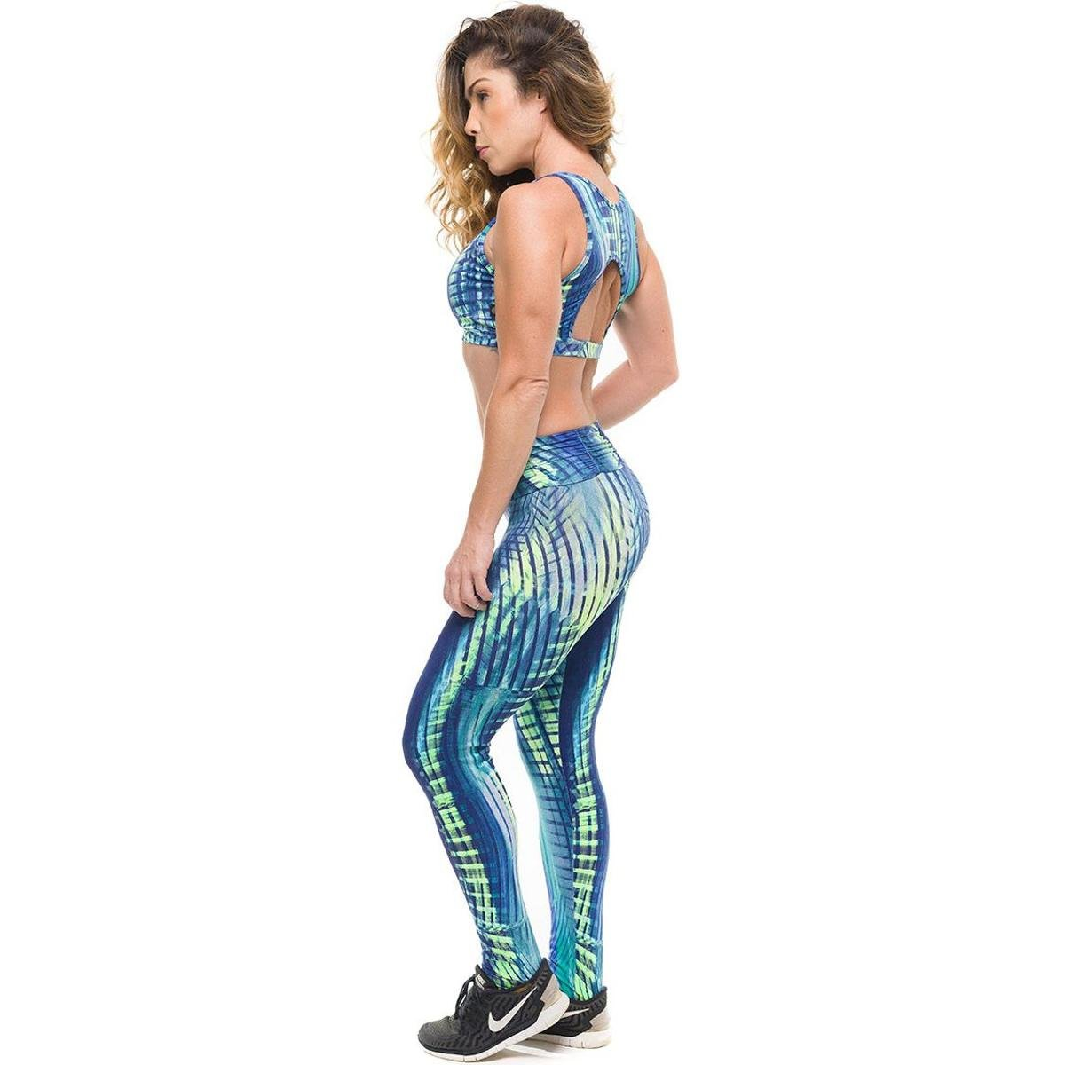 Sky Top Legging Azul Solar Royal Conjunto Fitness Com Authentic Proteção Sandy Feminino RAgwqqxn75