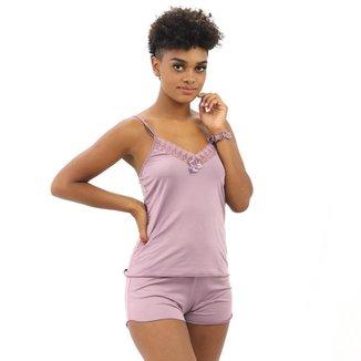 Conjunto Baby Doll Short Doll Alça Regulável Decote C/ Renda Feminina