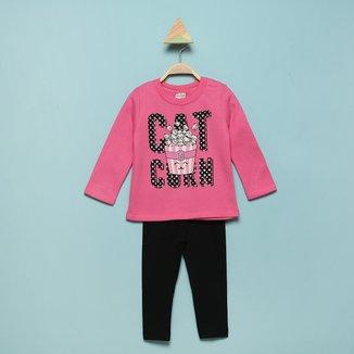 Conjunto Bebê Brandili Blusão Moletom+Legging Cotton Feminino