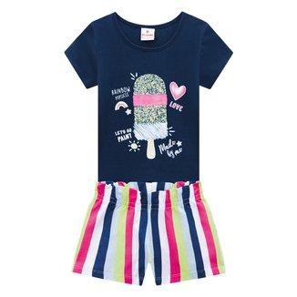 Conjunto Bebê Brandili Camiseta Picolé + Short Listrado Feminino