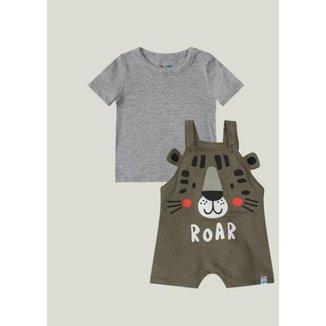 Conjunto Bebê Camiseta + Jardineira com Estampa de Leão