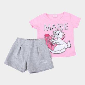 Conjunto Bebê Disney Camiseta E Shorts Moletinho Marie Feminino