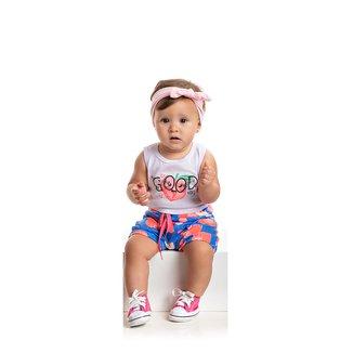 Conjunto Bebê Duzizo Body+Shorts Feminino