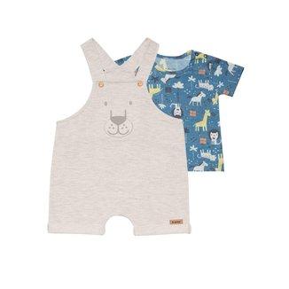 Conjunto Bebê Jardineira e Camiseta Nini&Bambini Leão Mescla