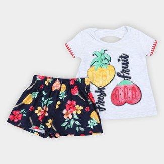 Conjunto Bebê Kyly Frutas Camiseta + Short Feminino