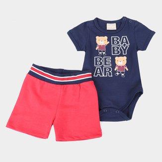 Conjunto Bebê Milon Body + Bermuda Moletinho Masculino