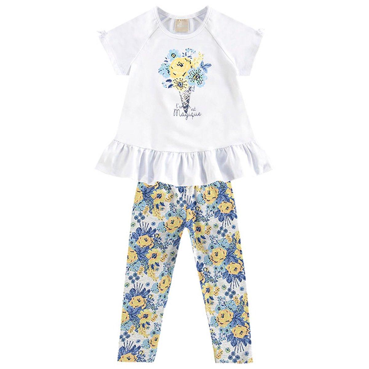 Milon Conjunto Bebê Bebê Floral Estampado Estampado Milon Feminino Branco Conjunto vW44TSg
