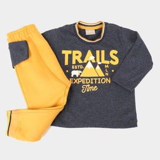 Conjunto Bebê Milon Trails Camiseta Manga Longa + Calça Moletom Masculino