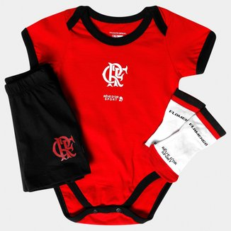 Conjunto Bicolor e Meia Flamengo Bebê