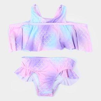 Conjunto Biquini Infantil Kamylus Com Proteção UV 50+ Babados Sereia