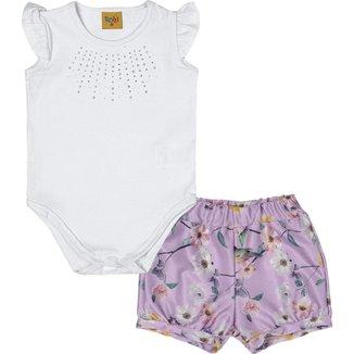 Conjunto Body em Cotton com shorts menina 93171