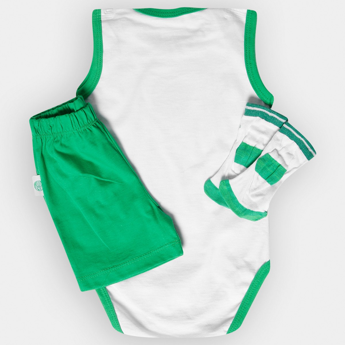 1a99c6ee37 Conjunto Body Regata Shorts e Meia Palmeiras Infantil - Verde e ...