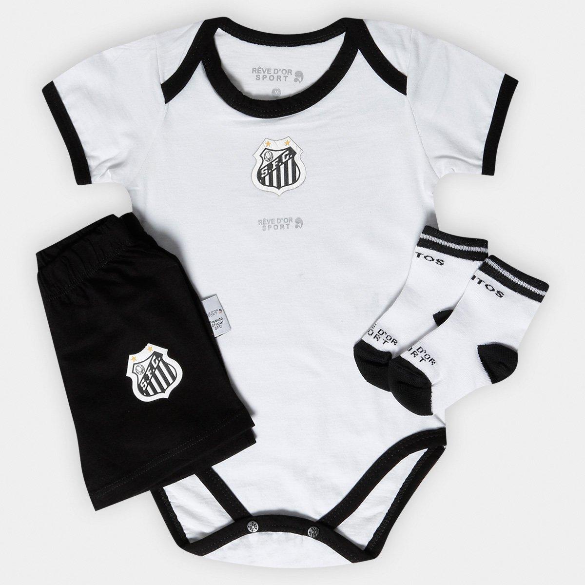 7c141df2a675d Conjunto Body Shorts e Meia Santos Bebê - Preto e Branco - Compre Agora
