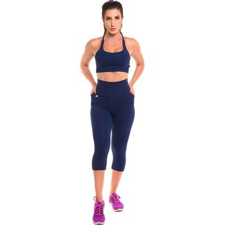 Conjunto Calça Corsário Com Proteção Solar Sandy Fitness Open Run - Feminino