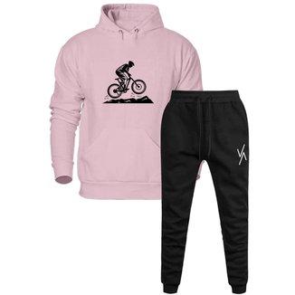 Conjunto Calça E Blusa Moletom Trivalle Estampa Bike Com Bolso Unissex