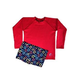 Conjunto Camiseta e Sunga Infantil Proteção Solar