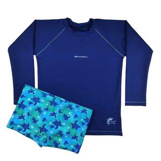 Conjunto Camiseta UV Marinho e Sunga Boxer Infantil Juvenil Grappin