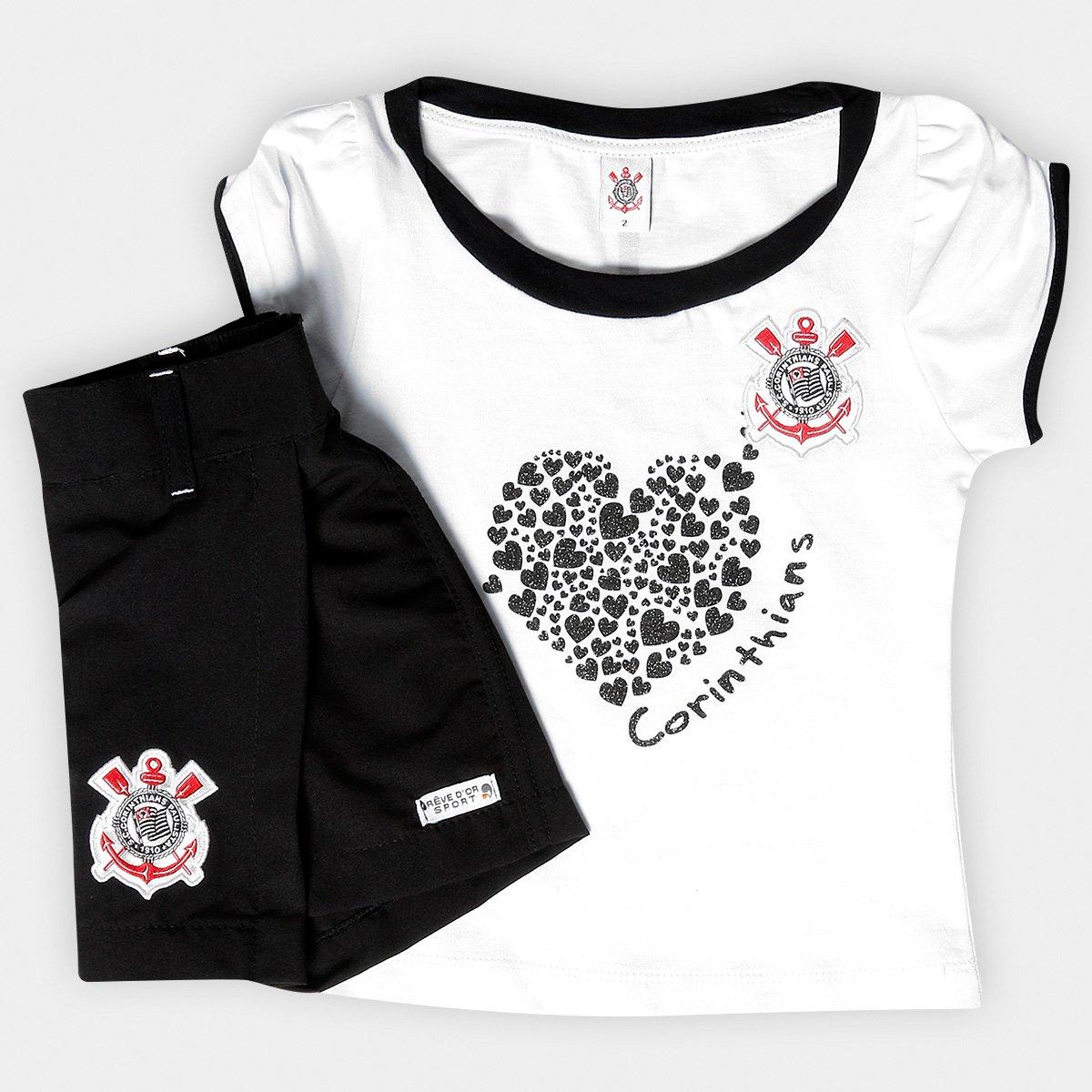6acb69f3968b9 Conjunto Corinthians Infantil Baby Look e Short-Saia   Netshoes