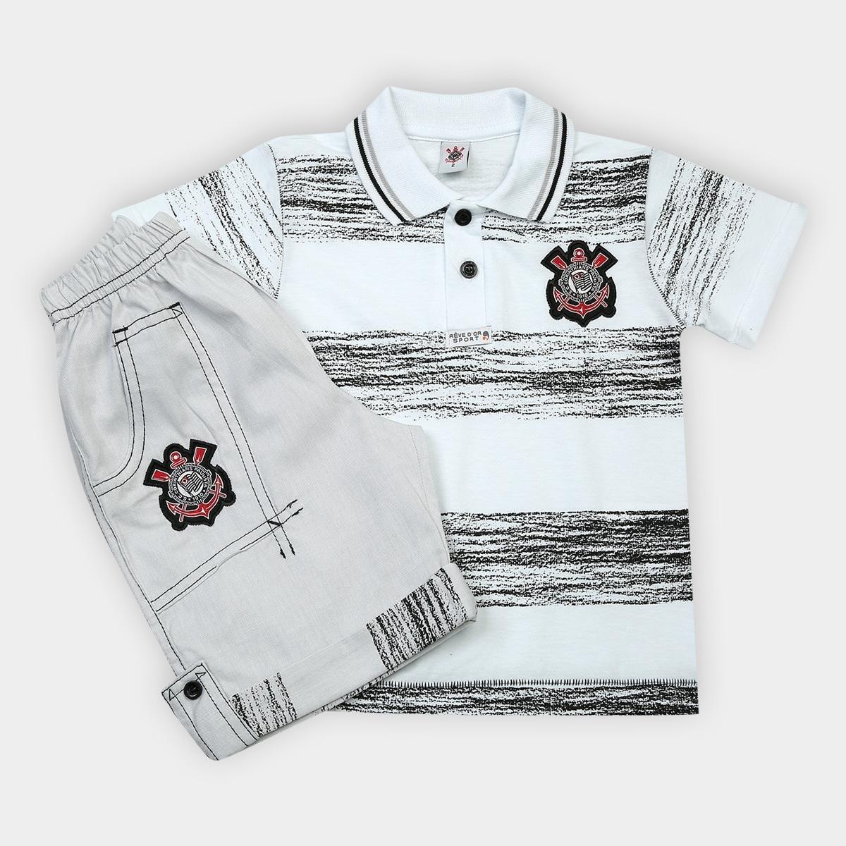 296b0bb66f Conjunto Corinthians Infantil Camisa Polo e Bermuda - Compre Agora ...
