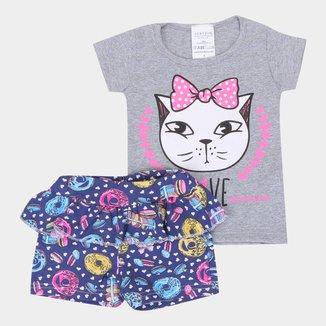 Conjunto Curto Infantil Candy Kids Gatinha Feminino