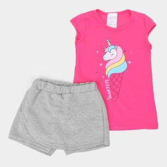 Conjunto Curto Infantil Candy Kids Unicorn Feminino