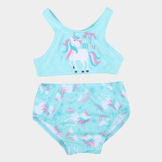 Conjunto de Biquini Bebê Tip Top Com Proteção UV 50+ Unicórnio