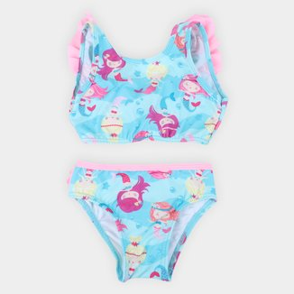 Conjunto de Biquíni Infantil Tip Top Com Proteção UV 50+ Sereias Feminino