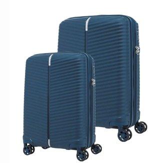 Conjunto de Malas de Viagem Expansível em Polipropileno Samsonite Varro 2Pcs P/M Cadeado TSA Marinho