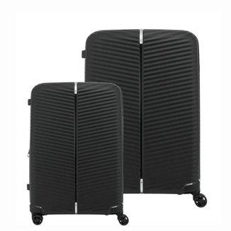 Conjunto de Malas de Viagem Expansível em Polipropileno Samsonite Varro 2Pcs P/M Cadeado TSA Preta