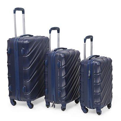 Conjunto de Malas de Viagem Yins Brasil Com Rodinhas ABS 3 unidades - Masculino