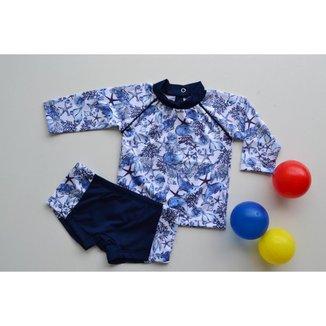Conjunto de Praia Bebê Masculino Estampado Blusa + Sunga Grow Up