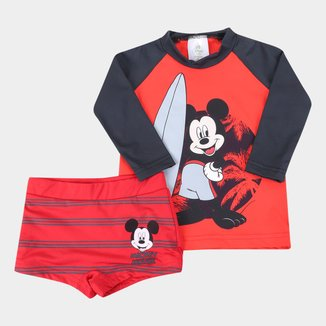Conjunto de Praia Infantil Disney Mickey Mouse UV50+ Manga Longa Masculina