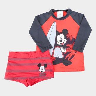 Conjunto de Praia Infantil Disney Mickey Mouse UV50+ Manga Longa Masculino