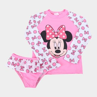 Conjunto de Praia Infantil Disney Minnie UV50+ Manga Longa Feminino