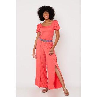 Conjunto de Tecido Ralm Calça pantalona e blusa de manga curta - Pink