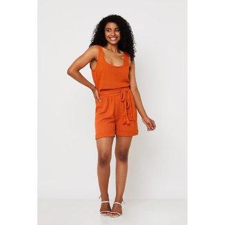 Conjunto de Tricot Ralm shorts com cinto e cropped - Laranja